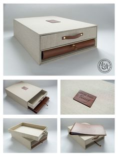 Essentially this is one big slip case with a drawer and smaller slip case - the smaller slip case contains a leather album and a leather pull.  This is an ideal product to keep the records and memories of a big undertaking or event like building a house or a wedding. As each one we make are all individual and bespoke, they can be made to any size and configuration.  You can choose between linen (pictured) or buckram for the outer cover and leather or hidden screw post for the album.