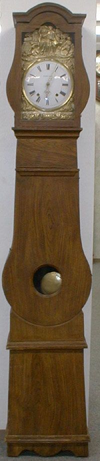 ITEM #14 ORIGINAL FAUX FINISH MORBIER FLOOR CLOCK IN VIOLIN SHAPE