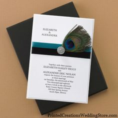 This Peacock Charisma Invitation features a white vellum top layer printed with your wording atop a white base card wrapped with the elegance of a peacock feather in the form of a ribbon embellishment - www.PrintedCreationsWeddingStore.com.  #peacockweddinginvitations  #peacockwedding