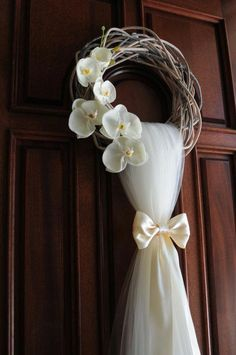 Rustic Wedding Wreath… 15 White Twisted Wreath Wedding and Bridal Shower Door Decoration . This rustic wedding wreath is an extraordinary front door wreath for a wedding or Bridal Shower, handmade with premium tulle and premium artificial flowers and high Wedding Wreaths, Diy Wedding, Rustic Wedding, Wedding At Home, Ribbon Wedding, Wedding White, Wedding Ideas, Bridal Flowers, Diy Flowers