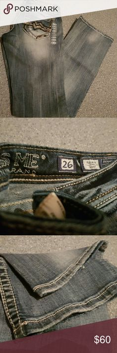Miss Me Denim BNWOT.  The tag fell off, but I have it.  Never worn jeans.  Size 26, boot cut.  No fraying. Miss Me Jeans Boot Cut