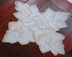 Em's Heart Antique Linens -Antique Society Silk Embroidered Doily
