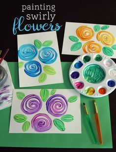 How To Paint Flowers - Painting Swirly Flowers - Step By Step Tutorials For Painting Roses, Daisies, Easy Acrylic Flower Tutorial For Beginners - Step By Step Instructions And How To Spring Art Projects, Easy Art Projects, Spring Crafts, Projects For Kids, Crafts For Kids, Easy Flower Painting, Diy Painting, Flower Art, Easy Flowers To Paint