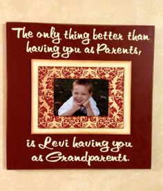 """Grandparents Day Photo Frame """"The only thing better than having you as parents..."""" Grandparent Gift Magnetic Picture Frame"""