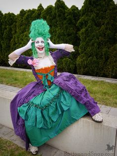 How I trimmed Jokerette's skirt (and almost tore my hair out in frustration) - Button & Snap Iridescent Fabric, Taffeta Skirt, Refashion, My Hair, Aurora Sleeping Beauty, Cosplay, Costumes, Silk, Button