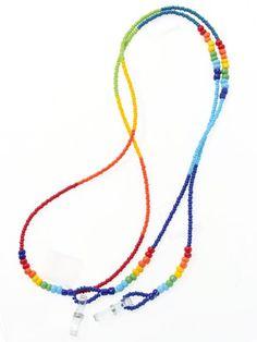 ビーズメガネストラップ Seed Bead Necklace, Beaded Necklace, Beaded Bracelets, Diy Glasses, Beaded Jewelry Designs, Jewellery Sketches, Bracelet Crafts, Gypsy Jewelry, Leather Chain