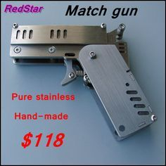 [RedStar] 7088# New style handmade stainless Mini match gun pistol baby toy model crafts gun include backup replacement parts