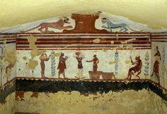 ** PINTURA MURAL ::: Tumba de los Malabaristas, h. 510 a.C., en Tarquinia - Un cómico lanza bolas sobre el candelabro que sostiene una bailarina.