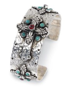 Cross motif with garnets and turquoise. All in gleaming sterling silver