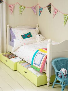 Love the storage under the bed for kids rooms - can't hide things there when cleaning!!