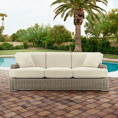 """Wyatt Outdoor 88"""" Sofa in Weathered Grey with Cushions"""