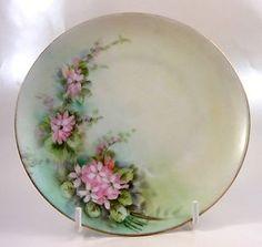 Antique Hand Painted Porcelain Plate Pink Violets