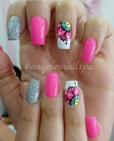 Uñas Cute Nail Art, Beautiful Nail Art, Cute Nails, Pretty Nails, Gorgeous Nails, Lcn Nails, Mandala Nails, Exotic Nails, Nail Polish Art