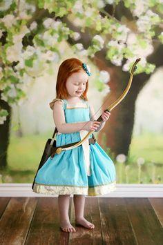Girls Brave Dress, Merida's Archery dress, Merida's Royal Princess Dress, inspired by Disney's Merida, available in sizes 2T-8girls by bleubirddesigns on Etsy https://www.etsy.com/listing/228435005/girls-brave-dress-meridas-archery-dress