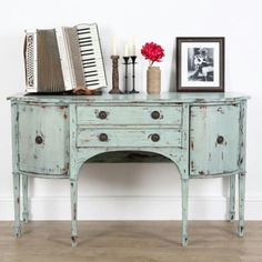 Funky upcycled green hand-painted mahogany sideboard #upcycled #etsy