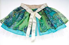 Girls designer party skirt (5 to 8 years) in silk - unique item.