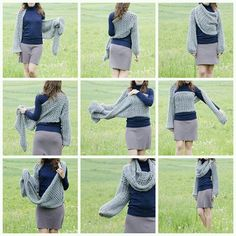 ao with ♥ / crochet bolero scarf. I would love to have this pattern in english but from the looks of it its a giant rectangle with cuffs Crochet Cardigan, Knit Or Crochet, Crochet Scarves, Crochet Shawl, Crochet Clothes, Diy Clothes, Loom Knit, Love Knitting, Arm Knitting