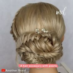 Stunning braided hairstyle by: braid Hairdo For Long Hair, Easy Hairstyles For Long Hair, Bride Hairstyles, Hair Updo Easy, Simple Hair Updos, Updo Hairstyles Tutorials, Easy Updos For Long Hair, Braided Hairstyles Updo, Hairstyle Men