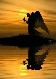 Angel silhouette in the golden sunset over the water. Angels Among Us, Angels And Demons, Witch Room, I Believe In Angels, Ange Demon, Angel Pictures, Angels In Heaven, Heavenly Angels, Guardian Angels