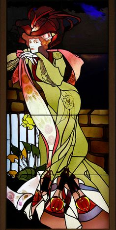 Georges de Feure Window (ca. 1901-1902) Art Nouveau stained glass window designed by George de Feure (1868-1943), fabricated by Hans Muller-Hickler, circa 1901-1902. Photo by John H Bowman. This would be an amazing window for my bathroom. It has all the right colors.