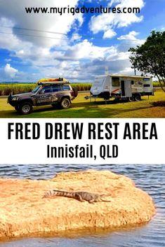 💲 FREE (no time limit); Australian Road Trip, Australian Beach, Caravan Parks, Roadtrip Australia, Australian Holidays, Rest Area, Picnic Tables, Queensland Australia, Caravans