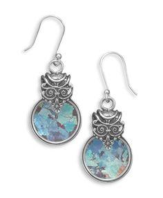 Ancient Roman Glass Circular Earrings