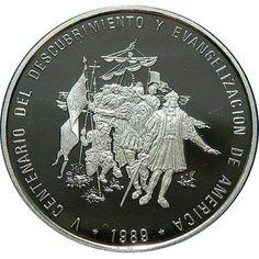 Moneda 10 onzas de plata 100 pesos Dominicana 1989. Piedforte