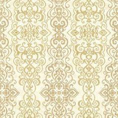 Brewster 2618-21342 Mexuar Gold Filigree Stripe Wallpaper