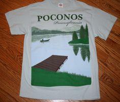 Poconos Pennsylvania T-Shirt Men's Large fishing boating lake Pocono Mountains #Delta #GraphicTee
