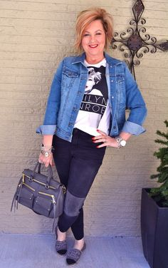 50 Is Not Old   Stepping Into Spring, #2   Jeans + t-shirt   Marilyn   Fashion over 40 for the everyday woman