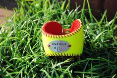 Softball yellow baseball cuff via Etsy