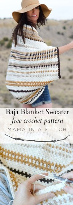 Baja Blanket Sweater Crochet Pattern via Mama In A Stitch Knit and Crochet Patterns – Jessica This easy, free crochet pattern is so simple and beautiful. There's a stitch tutorial and pattern included. Source by MamaInAStitch Pull Crochet, Stitch Crochet, Easy Crochet, Crochet Stitches, Free Crochet, Crochet Shrug Pattern Free, Free Pattern, Crochet Cardigan, Crochet Scarves