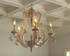 Brighton Metal Chandelier - Understated yet elegant, this five-light metal chandelier features a distressed antique white finish