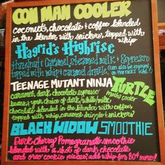 Dragon Con drink menu board #2 for Caribou Coffee, 2015