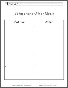 Before-and-After Chart - Blank Worksheet   Free to Print