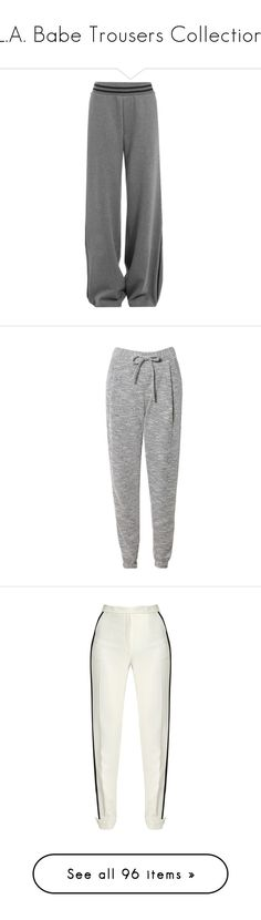 """L.A. Babe Trousers Collection"" by reinadeyaa ❤ liked on Polyvore featuring activewear, activewear pants, pants, bottoms, sweatpants, trousers, jeans/pants, grey, cotton sweat pants and grey sweat pants"