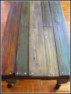 Paint and Stain on a Reclaimed Pallet Wood Table with Casters: