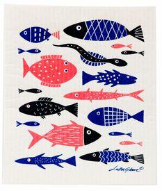 Great Scandinavian table linens and gifts - fjorn.com.  Klippan Fish Dish Cloth - 2 Pack