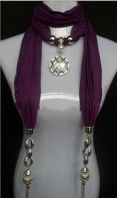 2013 Canada Beautful Shining Pendant Scarves Wholesale Scarf Necklace, Scarf Jewelry, Fabric Jewelry, Beaded Jewelry, Jewellery, Sleeves Designs For Dresses, Diy Scarf, How To Wear Scarves, Scarf Hairstyles
