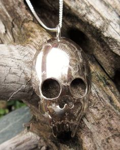 """Skull Pendant fashioned from a """"Old English"""" Sterling Silver Spoon by Birks Sterling...just in time for Halloween and for sale at Health Haven, Deep River, Ont"""