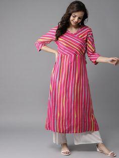 Best 12 Striped Kurtas – Buy Striped Kurtas online in India Plain Kurti Designs, Simple Kurta Designs, Printed Kurti Designs, Churidar Designs, Kurta Designs Women, Long Kurta Designs, Latest Kurti Designs, Dress Neck Designs, Designs For Dresses