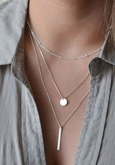 Silver Fashion Alloy Pendant Necklaces - Necklaces - Jewelry - List of the most beautiful jewelry Coin Necklace, Silver Pendant Necklace, Silver Necklaces, Sterling Silver Jewelry, Silver Earrings, Silver Ring, Layering Necklaces, Onyx Necklace, Garnet Necklace