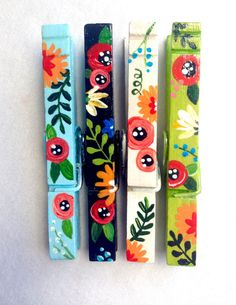 FLOWER CLOTHESPINS magnets hand painted blue by SugarAndPaint