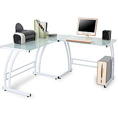 @Overstock - This modern workstation desk provides plenty of room for your computer and accessories while adding a fun touch to your decor. The metal frame is sturdy enough to support all of your equipment, and the tempered glass top adds a contemporary feel.   http://www.overstock.com/Home-Garden/Double-Bit-White-Workstation/6383071/product.html?CID=214117 $136.21