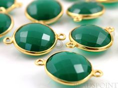 Natural Green Onyx Bezel COIN Shape Gemstone by Beadspoint on Etsy, $5.99