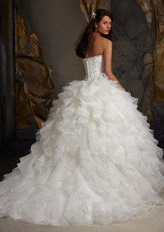 Bridal Dress From Blu By Mori Lee Style 5116 Crystal Beaded Venice Lace On Ruffled Organza
