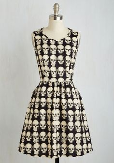 Down to the Flair Bones Dress - Black, White, Print, Halloween, Skulls, A-line, Sleeveless, Woven, Better, Mid-length, Cotton