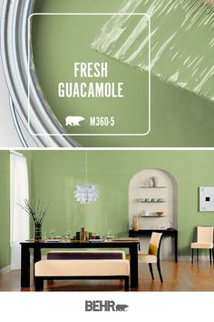 Holy moly, it's BEHR® Paint in Fresh Guacamole! Featured in this artsy-chic dining room, we're loving the combination of light green walls with wood floors and bright accent colors. Click below for full color details to learn more. Green Paint Colors, Kitchen Paint Colors, Bedroom Paint Colors, Paint Colors For Home, Room Colors, Green Dining Room Paint, Green Kitchen Walls, Dining Room Walls, Living Room