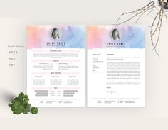 Flower Watercolor Resume TemplateCvCover Letter C  Cv Cover