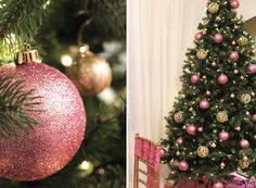 Simple and Elegant Christmas Tree. Pink & gold ornaments on green Christmas tree. Elegant Christmas Trees, Green Christmas, Christmas Tree Decorations, Christmas Bulbs, Holiday Decor, Gold Ornaments, Photo Tree, Independence Day, Decorating Your Home